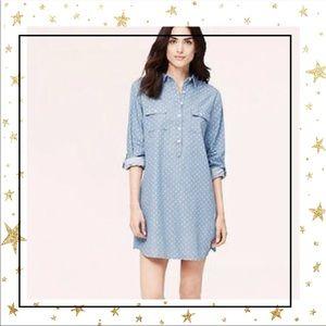 Loft Denim blue Polka dot shirt casual dress (C2)